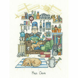Man Cave Cross Stitch Kit