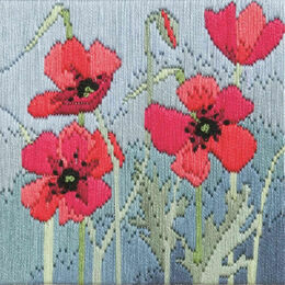Wild Poppies Silken Long Stitch Kit