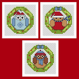 Christmas Wreath Cross Stitch Card Kits - Set Of 3
