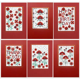 Poppies Cross Stitch Card Kits (Set of 6)