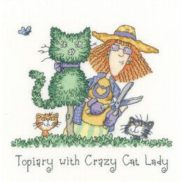 Topiary With Crazy Cat Lady Cross Stitch Kit