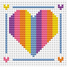 Sew Simple Rainbow Heart Cross Stitch Kit