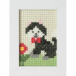 Cat Felt Cross Stitch Kit With Frame