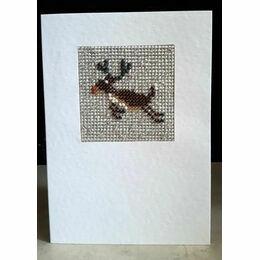 Rudolf The Reindeer Mini Beadwork Embroidery Christmas Card Kit