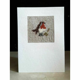 Stanley The Robin Mini Beadwork Embroidery Christmas Card Kit