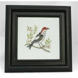 Golden Crowned Thrush Beadwork Embroidery Linen Kit