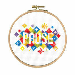 Pause Cross Stitch Kit With Hoop