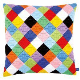 Colourful Diamonds Long Stitch Cushion Panel Kit