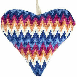 Blue Bargello Lavender Heart Tapestry Kit