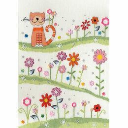 Daisy Patch Cat Cross Stitch Kit