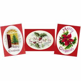 Christmas Greetings Cross Stitch Card Kits - Set Of 3