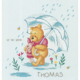 Winnie In The Rain Birth Record Disney Cross Stitch Kit