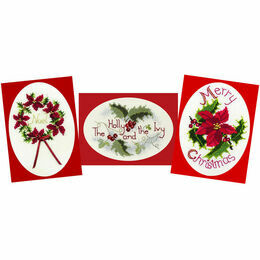 Holly Collection - Set of 3 Cross Stitch Christmas Card Kits