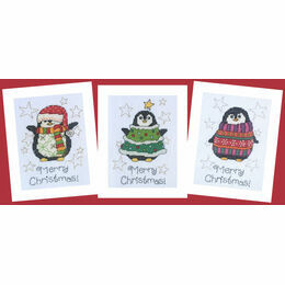 Three Happy Penguins Cross Stitch Christmas Card Kits (Set of 3)