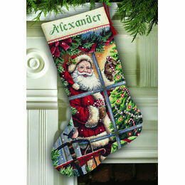 Candy Cane Santa Stocking Cross Stitch Kit