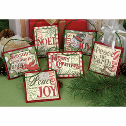 Christmas Sayings Cross Stitch Ornaments Kit (Set Of 6)
