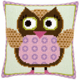Miss Owl Chunky Cross Stitch Cushion Front Kit