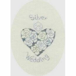 Silver or Diamond Wedding Anniversary Cross Stitch Card Kit