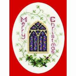 Stained Glass Window Christmas Cross Stitch Card Kit