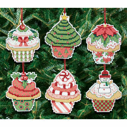 Christmas Cupcake Ornaments Cross Stitch Kit (Set of 6)