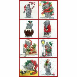 Set of 8 Mini Tatty Teddy Christmas Cross Stitch Kits