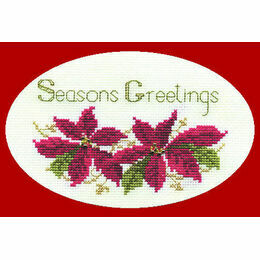 Poinsettias Cross Stitch Christmas Card Kit