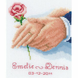 Holding Hands Rose Wedding Sampler Cross Stitch Kit