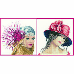 Set Of 2 Elegance Miniature Portrait Cross Stitch Kits - Fleur & Claire