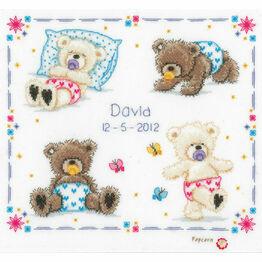 Popcorn Bear - First Steps Birth Sampler Cross Stitch Kit