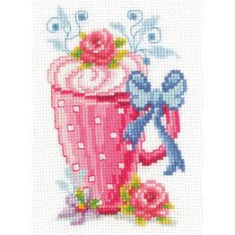 Pink Latte Cup & Flowers Cross Stitch Kit