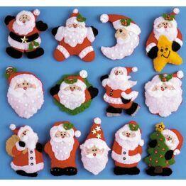 Lots of Santas Felt Ornaments Kits