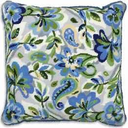 Paisley Floral In Blue Cushion Panel Tapestry Kit