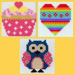 Anchor 1st Cross Stitch Kits - Zoe, Heart, Cupcake (Set of 3)