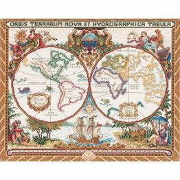 Olde World Map Cross Stitch Kit