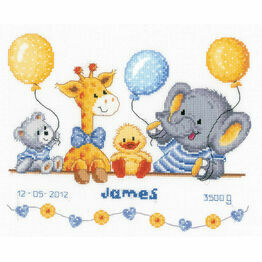 Animal Cheer Birth Sampler Cross Stitch Kit