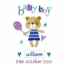 Madison Bear Boy Birth Sampler Cross Stitch Kit