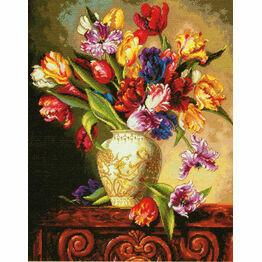 Parrot Tulips Cross Stitch Kit