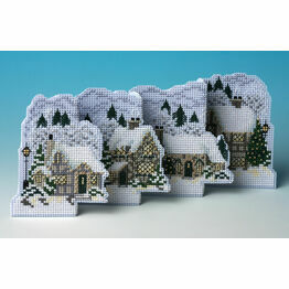 White Christmas Deluxe 3D Cross Stitch Card Kit