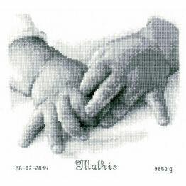 Baby Hands Cross Stitch Birth Sampler Kit
