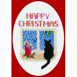 Christmas Cat Cross Stitch Card Kit