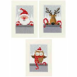Christmas Buddies - Set Of 3 Cross Stitch Card Kits