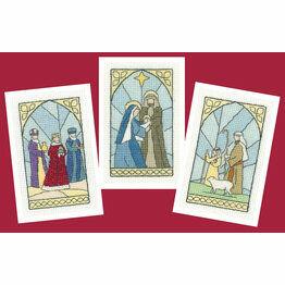 Stained Glass Christmas Card Cross Stitch Kits (Set Of 3) - (Set A)