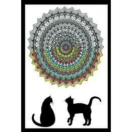 Design Works Cat Mandala - Zenbroidery Fabric Pack