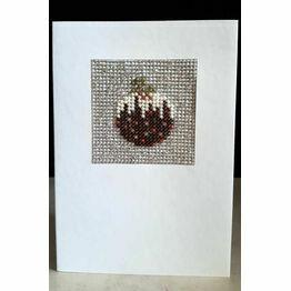 Christmas Pudding Mini Beadwork Embroidery Christmas Card Kit