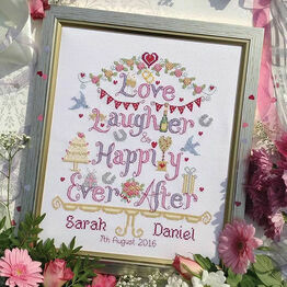 Love, Laughter, Happily Ever After Cross Stitch Kit