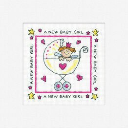 A New Baby Girl Cross Stitch Card Kit