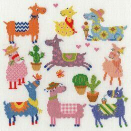 Slightly Dotty Llamas Cross Stitch Kit