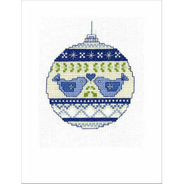 Christmas Doves Bauble Cross Stitch Christmas Card Kit