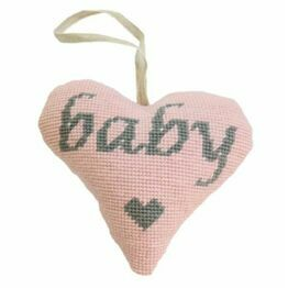 Baby Girl Grey On Pink Heart Tapestry Kit