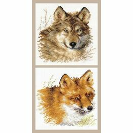 Wolf And Fox - Set Of 2 Counted Cross Stitch Kits